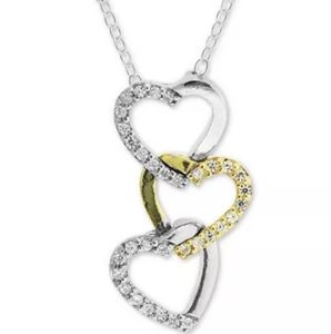 "Two-Tone Cubic Zirconia Heart 18"" Pendant Necklace"